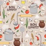 Teste padrão sem emenda do fundo de Bon Appetit Imagem de Stock Royalty Free