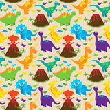 Teste padrão sem emenda do fundo do vetor de Tileable do dinossauro Imagens de Stock Royalty Free
