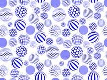 Teste padrão sem emenda do globo redondo branco azul abstrato Foto de Stock Royalty Free