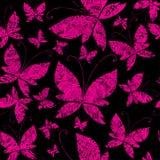 Teste padrão sem emenda do grunge do vetor com borboleta Imagens de Stock Royalty Free