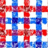 Teste padrão sem emenda do guingão quadriculado azul e vermelho do grunge, vetor Foto de Stock Royalty Free