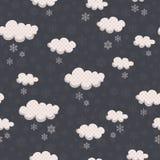 Teste padrão sem emenda do inverno com nuvens e flocos de neve Foto de Stock Royalty Free