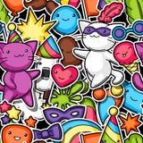 Teste padrão sem emenda do kawaii do partido do carnaval Gatos bonitos da etiqueta, decorações para a celebração, objetos e símbo Foto de Stock Royalty Free