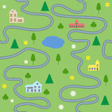 Teste padrão sem emenda do mapa dos desenhos animados com casas e estradas Imagens de Stock