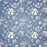 Teste padrão sem emenda do mar ornamentado do vetor Imagem de Stock Royalty Free
