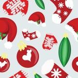 Teste padrão sem emenda do Natal com chapéu de Santa Fotografia de Stock