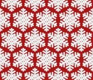 Teste padrão sem emenda do Natal tradicional com o floco de neve 3D isométrico Imagens de Stock