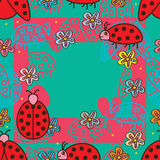 Teste padrão sem emenda do quadro quadrado do joaninha Imagens de Stock Royalty Free