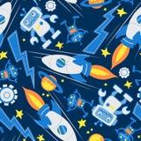 Teste padrão sem emenda do robô de espaço no espaço Imagens de Stock Royalty Free