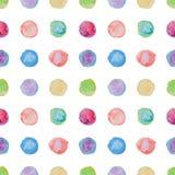 Teste padrão sem emenda do às bolinhas do Watercolour Fotos de Stock