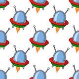 Teste padrão sem emenda do UFO da nave espacial dos desenhos animados Fotografia de Stock Royalty Free