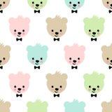 Teste padrão sem emenda do urso da peluche Fundo bonito do vetor com o urso de peluche do menino Imagem de Stock Royalty Free