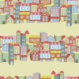 Teste padrão sem emenda do vetor com casas e construções Imagem de Stock Royalty Free