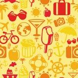 Teste padrão sem emenda do vetor com ícones do verão Imagem de Stock Royalty Free