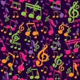 Teste padrão sem emenda do vetor com notas da música Imagens de Stock