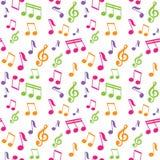 Teste padrão sem emenda do vetor com notas da música Fotos de Stock Royalty Free