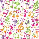 Teste padrão sem emenda do vetor com notas da música Foto de Stock Royalty Free