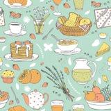 Teste padrão sem emenda do vetor com vários artigos do café da manhã Imagens de Stock Royalty Free