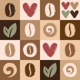 Teste padrão sem emenda do vetor dos feijões e dos corações de café Imagens de Stock Royalty Free
