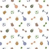 Teste padrão sem emenda do vetor Fundo com material desportivo colorido Bola de futebol, saco de perfuração, luvas, barbells, pes Fotografia de Stock