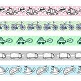 Teste padrão sem emenda dos carros desenhados à mão do garatuja-estilo Imagens de Stock