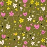Teste padrão sem emenda dos caráteres bonitos dos corações, das flores e das estrelas Fotos de Stock