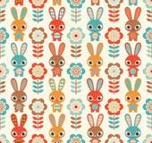 Teste padrão sem emenda dos coelhos dos desenhos animados Imagens de Stock Royalty Free