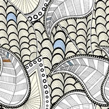 Teste padrão sem emenda dos doodles Textura com folhas e ondas Ilustração do vetor Fotos de Stock