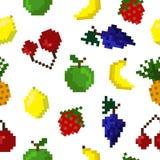 Teste padrão sem emenda dos frutos da arte do pixel Imagem de Stock Royalty Free