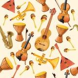 Teste padrão sem emenda dos instrumentos de música Imagem de Stock Royalty Free