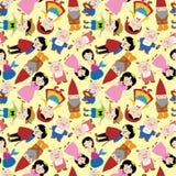 Teste padrão sem emenda dos povos da história dos desenhos animados Imagens de Stock Royalty Free