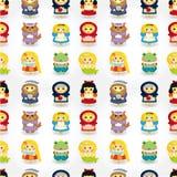 Teste padrão sem emenda dos povos da história dos desenhos animados Imagens de Stock