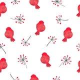 Teste padrão sem emenda dos pássaros vermelhos da aquarela Imagens de Stock
