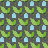 Teste padrão sem emenda dos sinos azuis Fundo do vetor das flores Fá retro Fotos de Stock Royalty Free