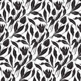 Teste padrão sem emenda dos tulips (vetor) Imagens de Stock Royalty Free