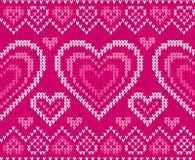Teste padrão sem emenda feito malha do vetor do dia de Valentim Imagem de Stock