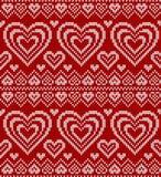 Teste padrão sem emenda feito malha vermelho do vetor do dia de Valentim Fotos de Stock Royalty Free