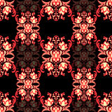 Teste padrão sem emenda floral com arabesque, ornamento oriental multicolorido do damasco Decoração tradicional abstrata para os  Fotos de Stock Royalty Free