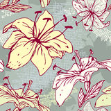 Teste padrão sem emenda floral com as flores tiradas mão -  Fotografia de Stock