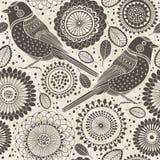 Teste padrão sem emenda floral com pássaros Ilustração do projeto do fundo dos desenhos animados? com espaço do texto Fotos de Stock