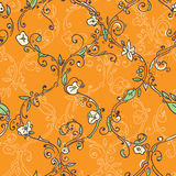 Teste padrão sem emenda floral tirado mão da treliça Foto de Stock Royalty Free