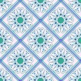Teste padrão sem emenda geométrico, verde, rombo azul Fotografia de Stock Royalty Free