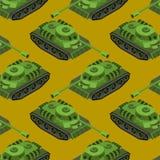 Teste padrão sem emenda isométrico do tanque Textura da maquinaria do exército armored Imagem de Stock