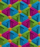 Teste padrão sem emenda isométrico fundo da ilusão 3d ótica Foto de Stock Royalty Free