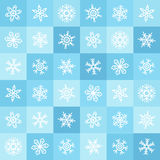 Teste padrão sem emenda liso do inverno dos flocos de neve e dos quadrados do projeto Imagens de Stock Royalty Free