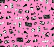 Teste padrão sem emenda Música do punk rock isolada no fundo cor-de-rosa Rabiscar elementos, emblemas, crachás, logotipo e ícones Imagens de Stock Royalty Free