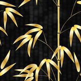 Teste padrão sem emenda o bambu tirado do estilo japonês em um fundo com hieróglifos text a ilustração do vetor Fotos de Stock Royalty Free