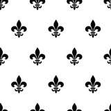 Teste padrão sem emenda preto e branco da flor de lis Ilustração do vetor Fotos de Stock Royalty Free