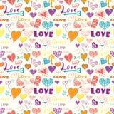 Teste padrão sem emenda tirado mão dos elementos do dia de Valentim Imagens de Stock