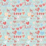 Teste padrão sem emenda tirado mão dos elementos do dia de Valentim Símbolos e rotulação esboçados dos corações dos elementos da  Fotografia de Stock